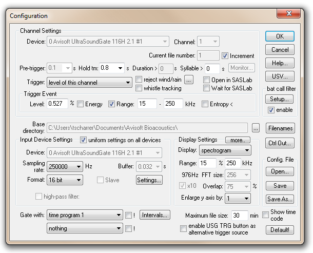 Abb. 3: Configuration Dialog der Software RECORDER