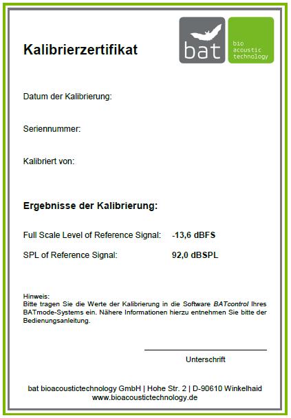 Abb.1: Beispielhaftes Kalibrierzertifikat einer Mikrofonscheibe