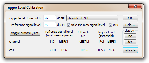 Abb. 4: Trigger Level Calibration Dialog der Software RECORDER